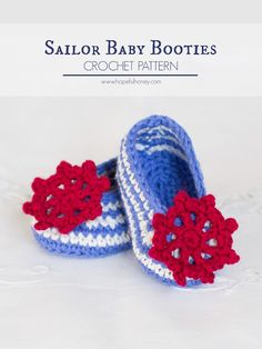 Sailor Baby Booties - Free Crochet Pattern by Hopeful Honey