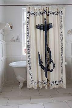 Anchor Shower Curtain in Ink design by Thomas Paul I Burke Decor Coastal Bedrooms, Coastal Living Rooms, Living Spaces, Nautical Shower Curtains, Nautical Bathrooms, Pirate Bathroom, Navy Bathroom, Anchor Bathroom, Bathroom Ideas
