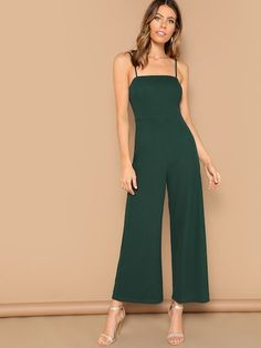 To find out about the Solid Wide Leg Cami Jumpsuit at SHEIN, part of our latest Jumpsuits ready to shop online today! Skinny Waist, Jumpsuits For Women, Fashion News, Fashion Fashion, Vintage Fashion, Going Out, Wide Leg, Rompers, Plus Size