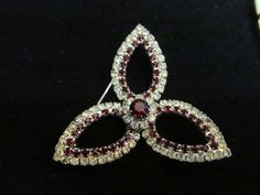 Kramer Red & White Rhinestone Brooch at Tons of Treasures in Laguna Niguel ~ Like us on Facebook!  https://www.facebook.com/pages/Tons-of-Treasures/112400565564963