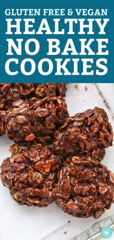 Healthy No Bake Cookies – These taste amazing! Close Overhead View of Gluten Free Vegan Healthy No Bake Cookies on a Cooling Rack from One Lovely Life Dairy Free No Bake Cookies, Healthy No Bake Cookies, Cookies Vegan, Gluten Free Cookie Recipes, Toffee Cookies, Brownie Cookies, Oatmeal Cookies, Keto Recipes, Healthy Dessert Recipes