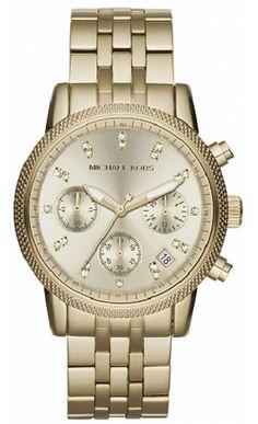 ef021053538 Michael Kors Mid-Size Golden Stainless Steel Ritz Chronograph Glitz Watch.