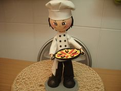 COMO HACER FOFUCHO COCINERO   ***this is in Spanish, I really wish the sound could be translated. It is a fantastic tutorial, and the little pizza guy is adorable, there are some questions about some things used like the head and the base, but watch closely & it is doable, Love it*** CG 12/29/2013