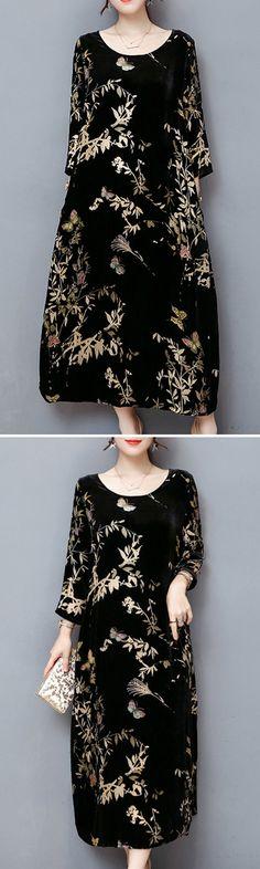 Vintage Printed Long Sleeve O-Neck Velvet Maxi Dress For Women #fashion #style #dress