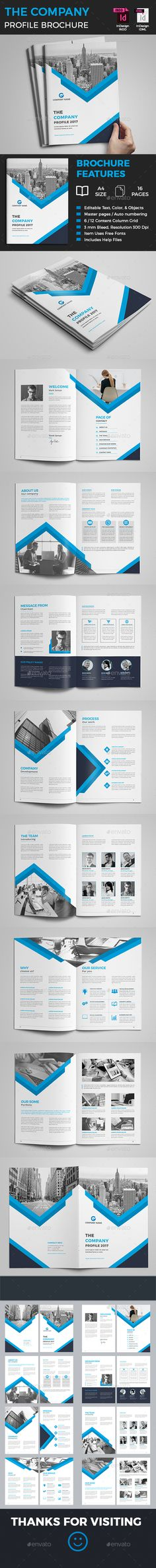 Company Profile Brochure - Corporate Brochures Company Profile Brochure Template that is super simple to edit and customize with your own details! Simply add your own images and text, I hope you like it. BROCHURE FEATURES: Page 16 Size: A4 (210×297mm) 6 / 12 Content Column Grid Bleed: 3mm Color: CMYK Resolution: 300 Dpi print Ready Format Open with: Adobe Indesign CS4, CS5, CS6 & CC Only Free Fonts Used, download link attached in help file