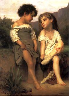 William Adolphe Bouguereau (French 1825-1905) [Realism, Academicism] Les Jeunes Baigneuses.