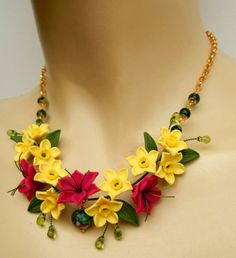 Narcissus   Yellow Fuchsia  Flower necklace  by insoujewelry
