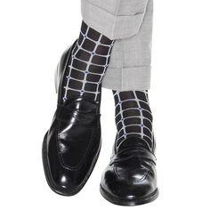 Dapper Classics Black with Ash Grid Sock Linked Toe Mens Fashion Wear, Latest Mens Fashion, Men's Fashion, Dress Socks, Men's Socks, Casual Wear For Men, Patterned Socks, Classy Men, Colorful Socks