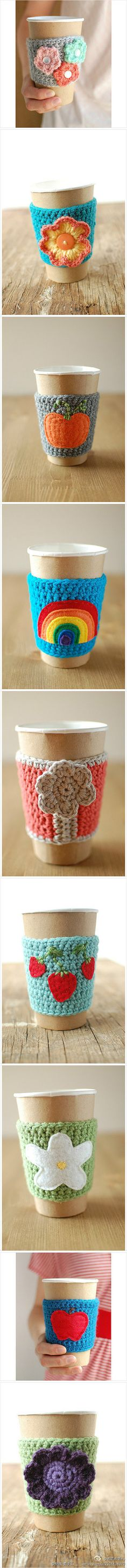 love these crocheted cup cozies...