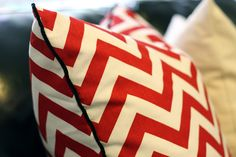 Chevron pillow with velvet piping @hodge:podge