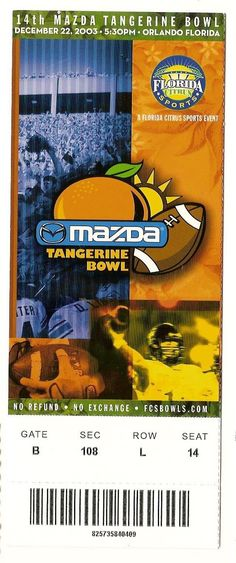 2003 Tangerine Bowl Full Ticket NC State Kansas....if you like this you can find many more college bowl game tickets for sale at.....www.everythingcollectibles.biz