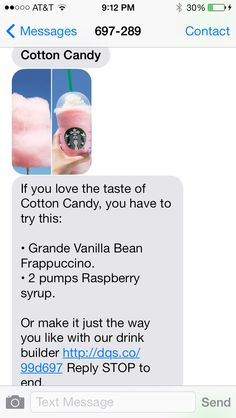 Cotton candy drink from Starbucks