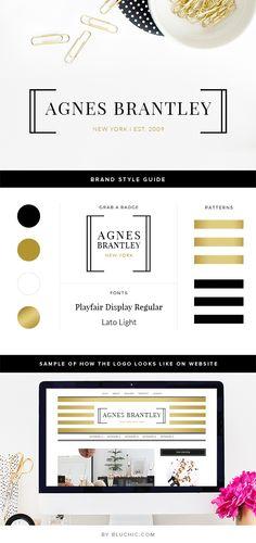 Feminine and chic premade logo design, with Brand Style Guide. Purchase via http://www.bluchic.com/shop/logo-suite/agnes-logo