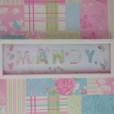 Personalised 8x24 inch Name frame, beautiful decor for any child bedroom.  Can be made in different colours and for all names, contact me for more information.