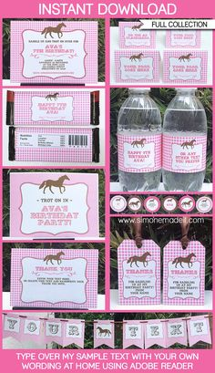 Horse Party Printables, Invitations & Decorations | Pony Party | Editable Birthday Party Templates | INSTANT DOWNLOAD $12.50 via SIMONEmadeit.com