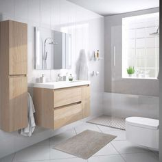 Modern compact bathroom set suspended with furniture auxi .- Modern compact bathroom set suspended with auxiliary furniture. Economic bathroom furniture and fast delivery. Bathroom Layout, Modern Bathroom Design, Bathroom Interior Design, Remodled Bathrooms, Ikea Bathroom, Bathroom Mirrors, Small Bathroom Furniture, Compact Furniture, Warm Bathroom