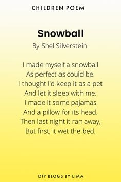 Snowball| Classical Poems for Children