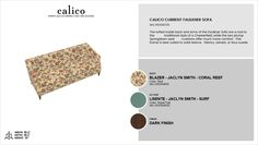 Calico Current Faulkner Sofa in Blazer - Jaclyn Smith - Coral Reef with an accent of Lisente - Jaclyn Smith - Surf in Dark Finish