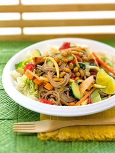 Thai Chicken & Soba Noodle Salad:  Lots of veggies, grilled chicken and a peanut dressing blend to create this chilled main-dish salad.