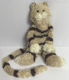 "Jellycat Plush Bunglie Cat Striped Tabby Brown Long Tail 19"" Stuffed Animal #Jellycat"