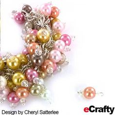 Free cha cha bracelet tutorial: Cheryl made this incredible glass pearl cha cha bracelet by creating one basic glass pearl beaded dangle in various colors, then attaching them to our 1197B pre-assembled chain maille bracelet base. This easy design uses only 4 items! #beads #pearls #bracelet #diy #jewelry #glasspearls #wedding #pink #gold #rose #diyjewelry #diybracelet #bracelettutorial #freejewelryprojects #beading #crafting #charmbracelet #chainmaille #ecrafty www.ecrafty.com