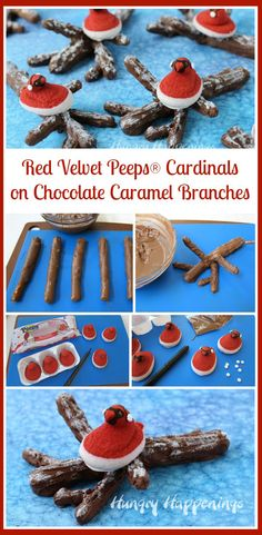 PEEPS® Red Velvet Chicks Dipped in Cream Flavored Fudge look like cardinals sitting in the snow, so I put them on top of snow covered chocolate caramel covered pretzel branches for some winter fun. See how you can make these yourself at HungryHappenings.com. @PEEPSBrand #PEEPSONALITY #ad