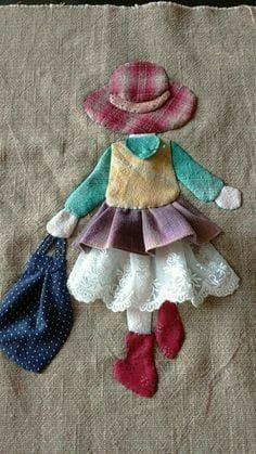 Ulla's Quilt World: Quilt bag - Japanese patchwork Sewing Appliques, Applique Patterns, Applique Designs, Embroidery Applique, Quilt Patterns, Sewing Patterns, Hand Applique, Wool Applique Quilts, Applique Tutorial