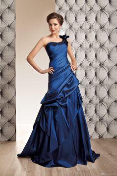 Wholesale Wedding Dress - Buy Elegant Blue A-Line Birdal Dresses Taffeta One-Shoulder Hand Made Flower Pleats Draped Pick-ups Zipper Sleeveless Sweep Train Women Gowns, $126.83 | DHgate.com