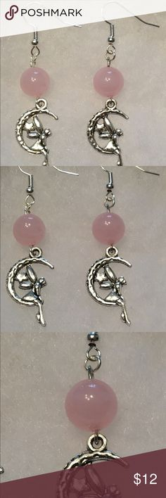 Natural Rose Quartz Silver Fairy Earrings These beautiful earrings are made with natural rose quartz. The hooks are sterling silver plated and hypoallergenic.   All PeaceFrog jewelry items are handmade by me! Take a look through my boutique for coordinating jewelry and more unique creations. PeaceFrog Jewelry Earrings