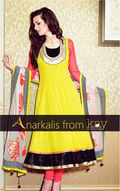 Flaunt bright hues this summer! A perfect combination will be a neon yellow anarkali with minimal neon pink bordered with a black and gold rimmed kali and U neck with gold border.  http://www.kayfashions.in/#!/ #fashion #indian #weddings #bridal #lehenga #ghagra #anarkali #salwar #designer #ethnic #boutique #chennai #shopping #triplicane #dress #clothes #traditional #saree #sari #silksaree