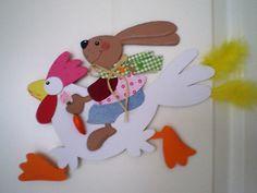 Fensterbild - Hase auf Huhn - Frühling- Ostern -Dekoration - Tonkarton!