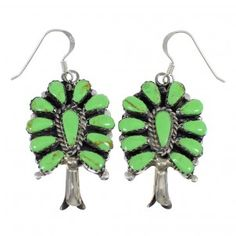 Gaspeite Silver Squash Blossom Navajo Indian Hook Dangle Earrings www.silvertribe.com