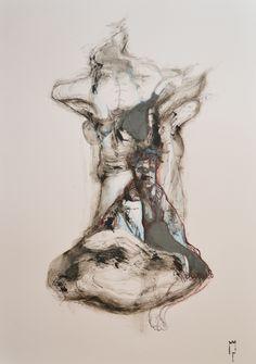 """""""Mi apparve una donna seduta su una nuvola"""" - Michele Petrelli - oil and mixed on wood ballasted - 2012"""