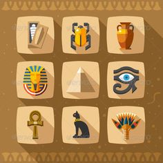Egypt Icons — Photoshop PSD #travel #vase • Available here → https://graphicriver.net/item/egypt-icons/7169370?ref=pxcr