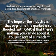 ~ Are you surrendering to Monsanto, Dow, Bayer, Syngenta, BASF and Dupont? These chemical companies make up the big six biotech bullies and have spent millions on keeping consumers in the dark about GMOs. Their Products! You Can Do, Told You So, Eating Organic, Biotechnology, Ms Gs, Good To Know, Health And Wellness, Health Tips, Food System