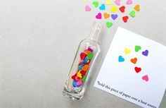 """Love this! """"Secret message in a bottle"""" Valentine's Day cards by @Kate Mazur Mazur Petty. (The invisible ink is just lemon juice!)"""