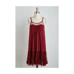 Ryu Boho Mid-length Sleeveless Shift Going Steady Dress ($60) ❤ liked on Polyvore featuring dresses, apparel, fashion dress, red, red shift dress, mid length dresses, polka dot dress, fancy dresses and ruffle dress