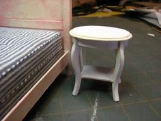 Dollhouse Miniature Furniture - Tutorials | 1 inch minis: OCCASIONAL TABLE TUTORAL - How to make a 1 inch scale occasional table with mat board.