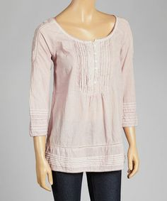 Another great find on #zulily! Rose Textured Button Scoop Neck Top by Anuna #zulilyfinds