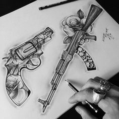 sketches tattoo design Collection of tattoos. Every hour I publish more interest … Gangster Tattoos, Badass Tattoos, Body Art Tattoos, Sleeve Tattoos, Cool Tattoos, Gun Tattoos, Gangster Drawings, Tattos, Tattoo Design Drawings