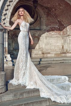 galia lahav fall 2016 bridal sleeveless halter neck sheath lace wedding dress (victoria) mv sexy glam open back long train