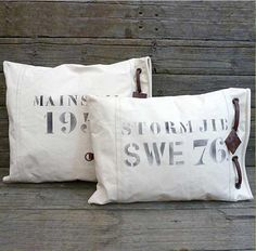 Off white heavy duty cotton sail cloth. Bed Pillows, Cushions, Sailing Outfit, Bellisima, Nautical, Recycling, Living Rooms, Boats, Beach House