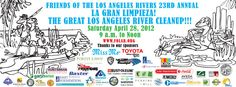 On April 28, 2012, 3000 volunteers joined Friends of the LA River to pull 22 tons of trash from 15 river sites in three hours.  That is the equivalent of eleven cars!