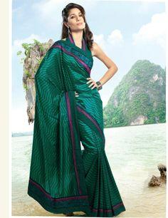 Designer Indian Crepe Silk Printed Embroidered Teal Ethnic Saree Sari SC3325