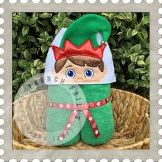 Holiday Elf Boy hooded towel design. #Embroidery #Applique
