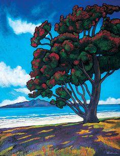 Summer, Takapuna Beach - New Zealand Prints - Wendy Leach Artist (New Zealand) Landscape Art, Landscape Paintings, New Zealand Landscape, New Zealand Art, Nz Art, Maori Art, Amazing Street Art, Whimsical Art, Beach Art