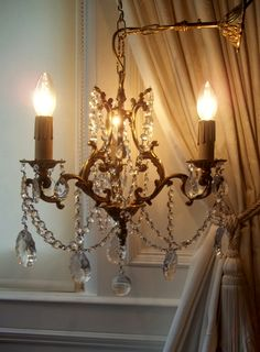 Petite Vintage French Bronze Crystal Cage Chandelier