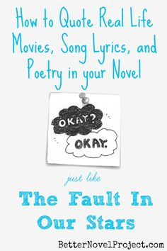 Reminder: Can you use a few song lyrics or someone else's words? John Green did just that with The Fault in Our Stars (TFIOS). TFIOS uses the creative work of others without violating copyright law. Fiction Writing, Writing Advice, Writing Resources, Writing Help, Writing Skills, Writing Romance, A Writer's Life, Real Life, Writers Write
