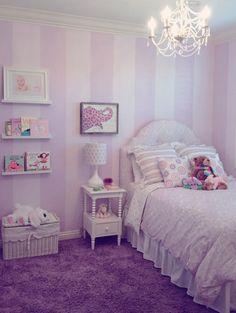 traditional . kids . lavender . bookshelves . purple carpet . stripes . super cute . Annette Tatum fabrics . by Kirsten Marie Inc, KMI