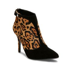 Polo Ralph Lauren Tonia Leopard Haircalf Bootie ($380) ❤ liked on Polyvore featuring shoes, boots, ankle booties, high heel stilettos, stiletto booties, back zipper boots, pointed toe booties and stiletto ankle boots